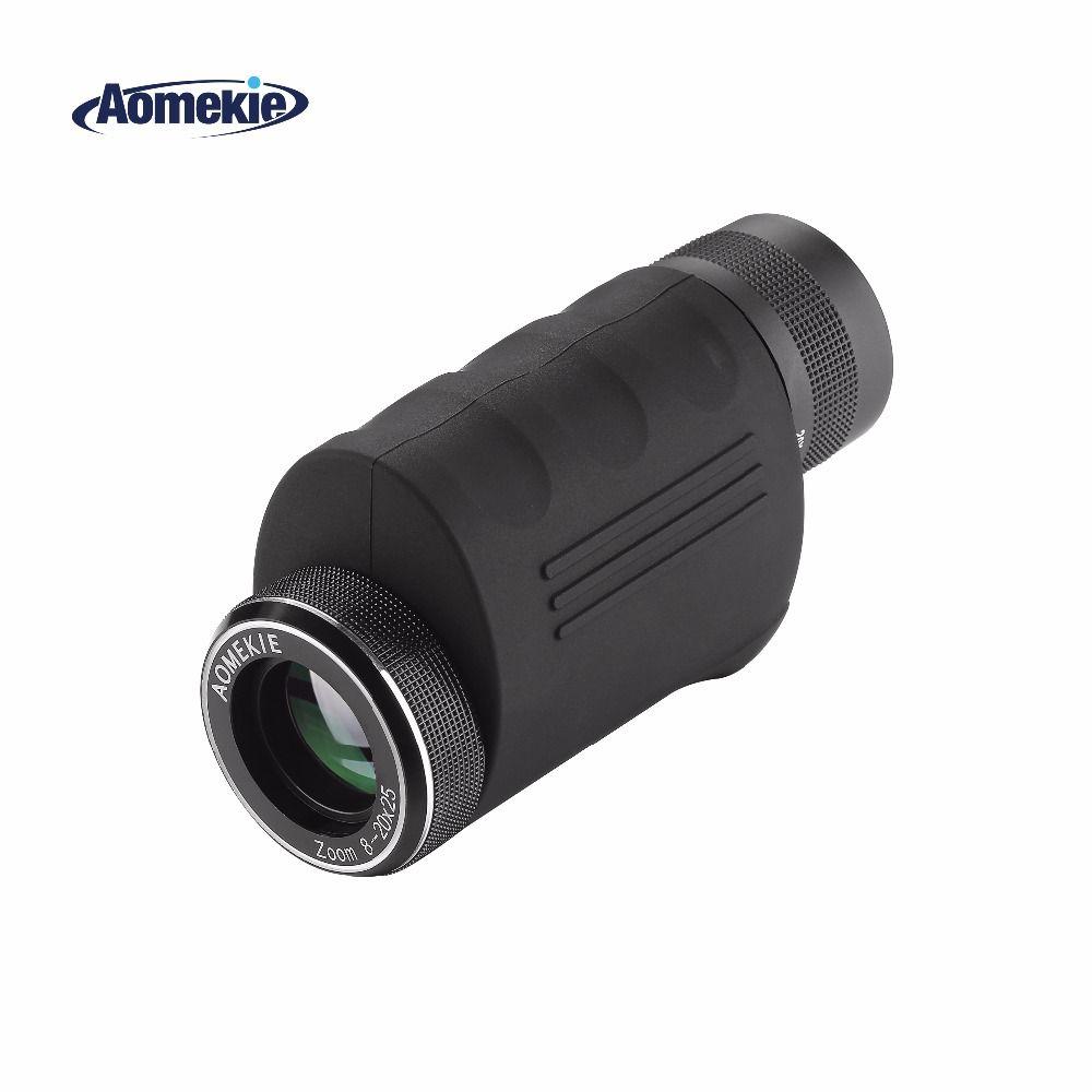 AOMEKIE 8-20X25 Monoculaire Zoom Compact HD Optique Prisme De Verre HD Golf Observation Des Oiseaux de Chasse Télescope De Poche Spotting Scope
