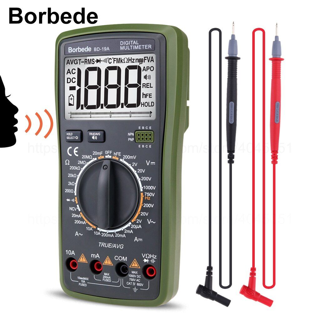 Borbede BD-19A Digital Multimeter with Voice Value DC/AC Voltage Current Resistance Capacitance NCV True RMS Diode Tester