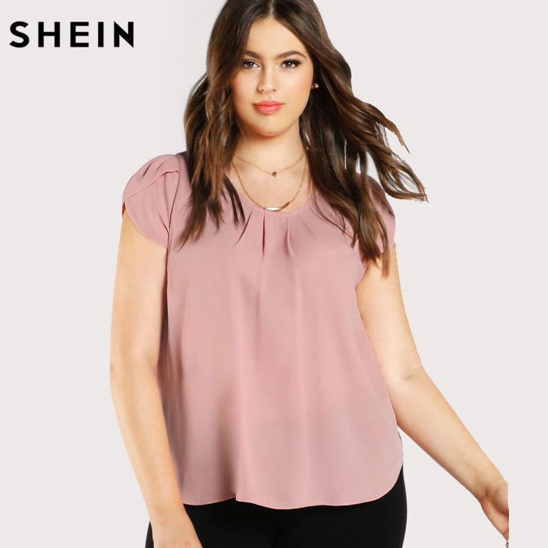 SHEIN Casual Plus Size Pink Blouse Fashion Elegant Blouse Spring Summer Large Size Top Tulip Sleeve Pleated Neck Top And Blouse