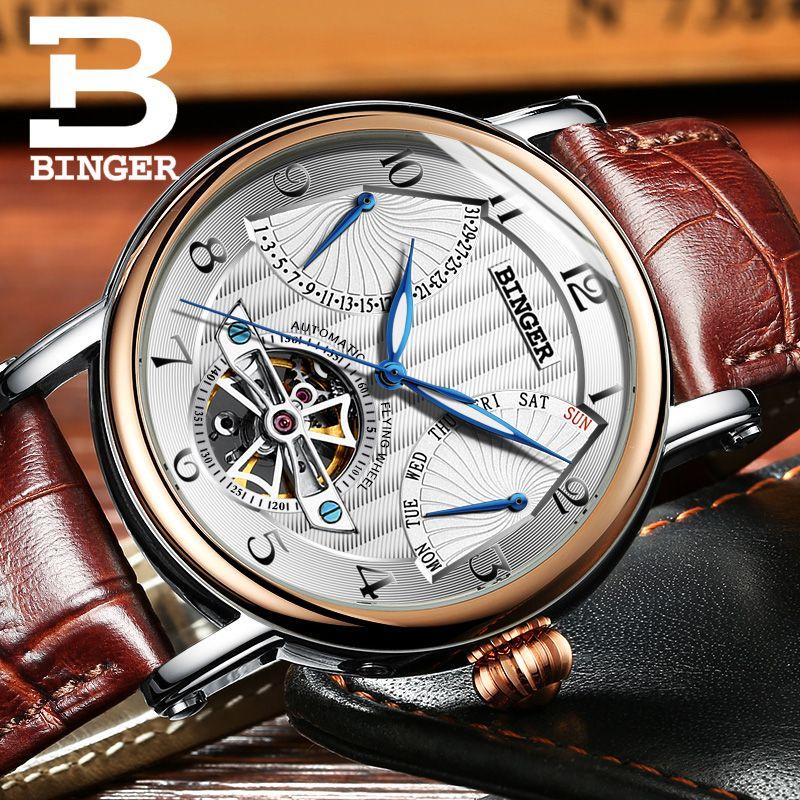 Switzerland watches men luxury brand BINGER business sapphire Water Resistant leather strap Mechanical Wristwatches B-1172-4