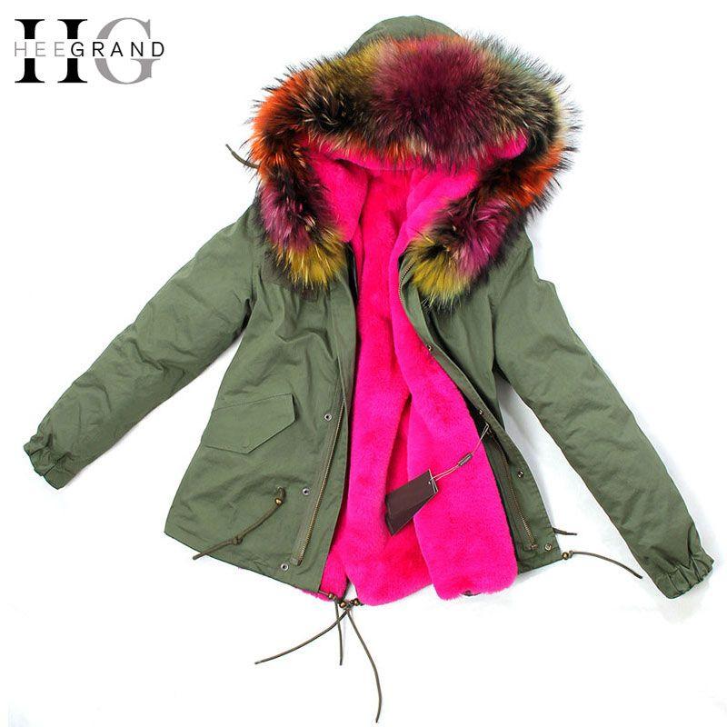 HEE GRAND 2016 Army Green Large Raccoon Fur Collar Hooded Women Coat& Parkas 2 in 1 Detachable Lining Winter Jacket WWM1449
