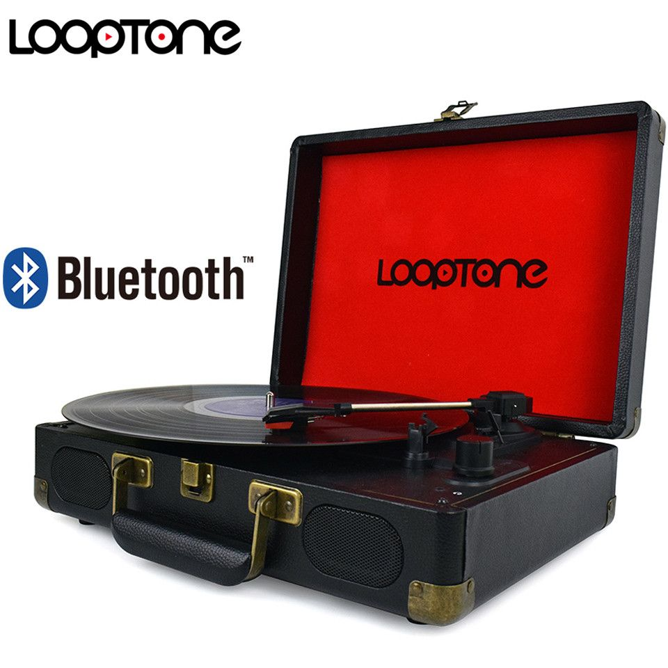 LoopTone Vintage 33/45/78 RPM Bluetooth Portable Suitcase Turntable Vinyl LP Record Player Aux-in Line-out AC110~240V Black