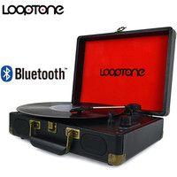 LoopTone Vintage 33/45/78 rpm portátil Bluetooth maleta tocadiscos de vinilo LP jugador Aux-en línea-AC110 ~ 240 V negro
