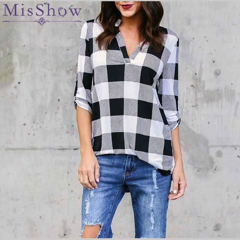 Plus Size 5XL Stand Neck Long Sleeve Grid Women Blouse Plaid Shirts Vintage Women Tops and Blouses Loose Lattice Blusa Feminina