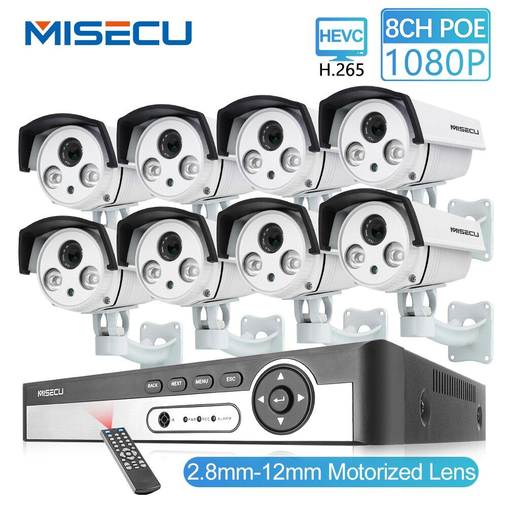 MISECU 8CH 48 V HD POE NVR 1080 P 2.0MP Auto Zoom objektiv 2,8-12mm POE IP Kamera im freien Wasserdichte P2P Onvif Überwachung kamera kit