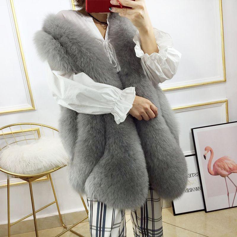 2018 New Design Women's Real Fox Fur Long Style Natural Fur Waistcoat Rf0203b