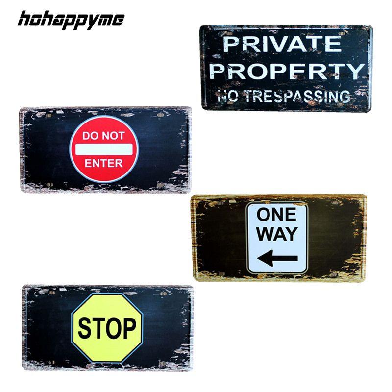 15*30 CM indicateur d'arrêt drôle Vintage signes en métal plaques décoratives murales Plaque de café en métal