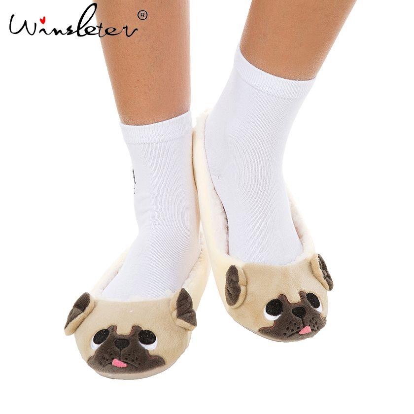 Mujeres zapatillas zapatillas de lana de perro pug lindo homewear A74101 EE. UU. tamaño 6-9