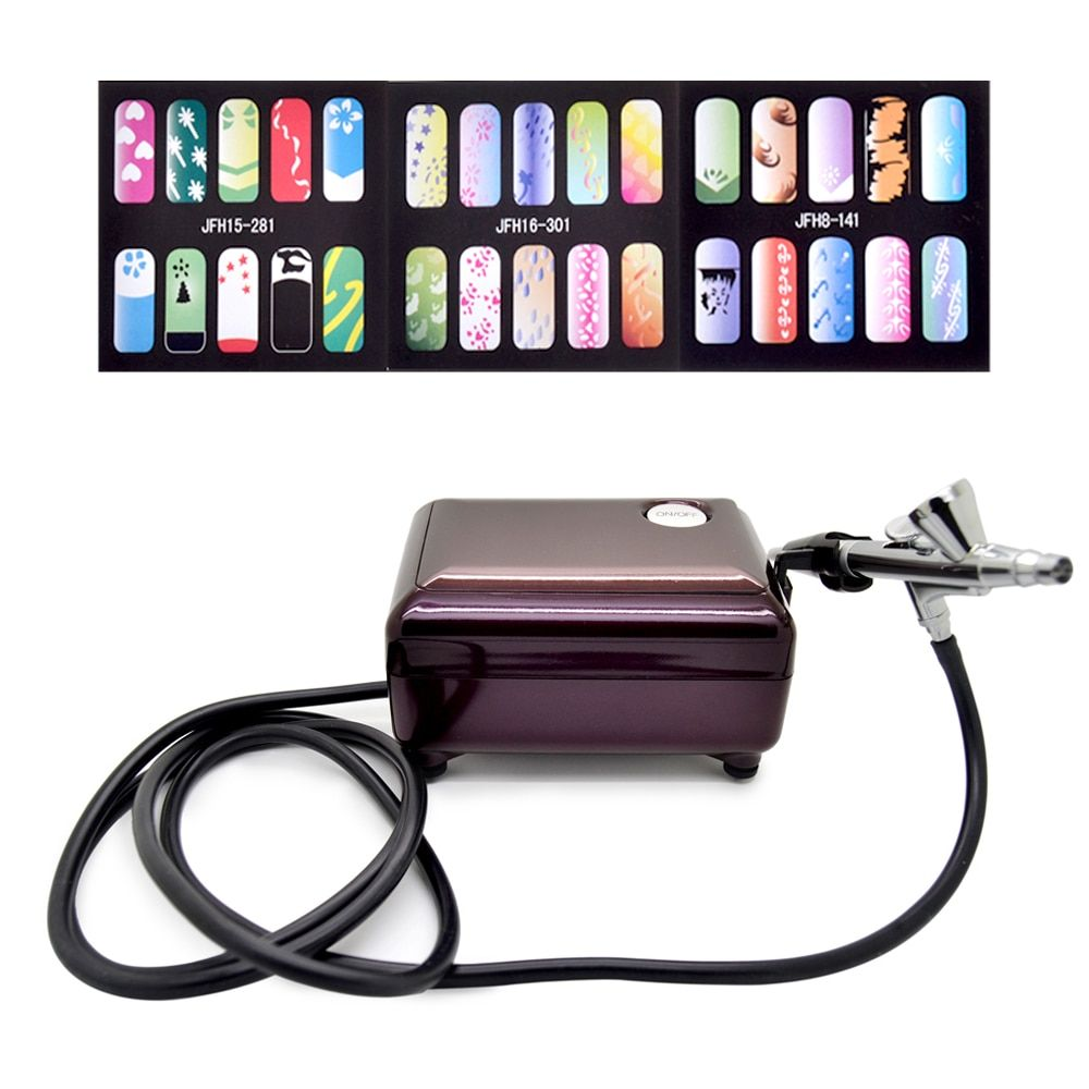 New Fashion Airbrush Pen Kit Makeup Spray Gun for Body Nail Paint with Air Compressor, Horse, 2 Stencil