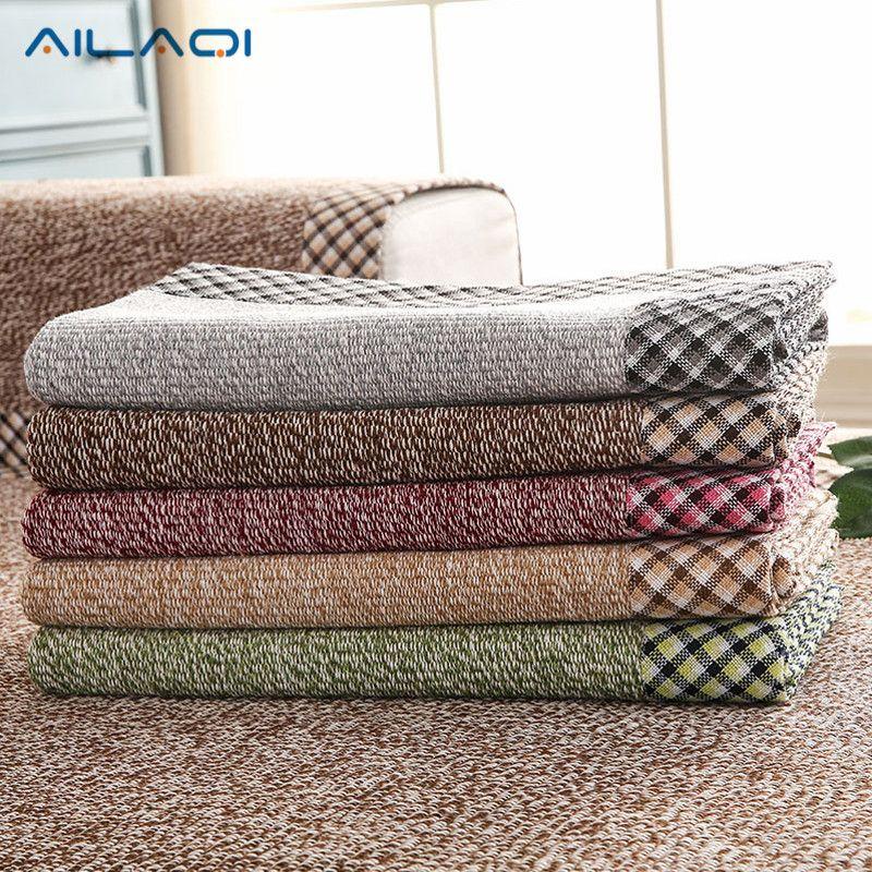 AILAQI Américain moderne style nature housse de canapé coton/lin housses pour canapé en coupe quatre saisons utilisation 1 Pc