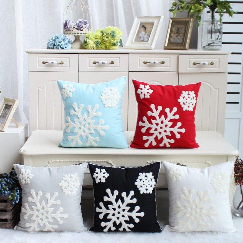 Flocon de neige Taie d'oreiller 100% Coton Broderie De Noël Housse de Coussin Décoratif Canapé Home Decor Taie D'oreiller Lit De Voiture Housse de Coussin