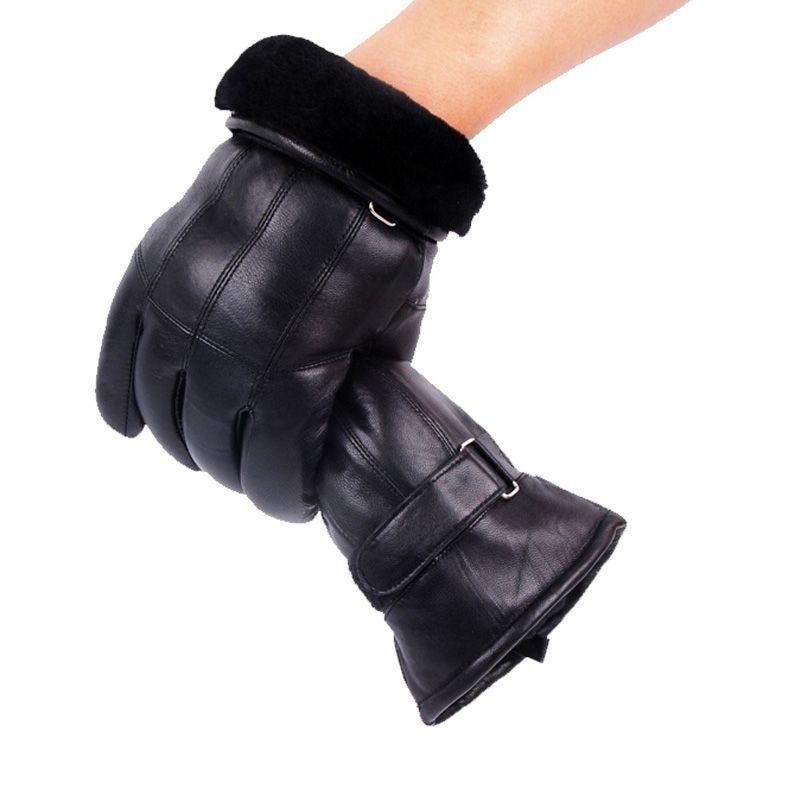 Gants en cuir véritable pour hommes gants d'hiver en cuir à la mode en peau de mouton Gentmen Luvas Guantes Mujer hiver nouveau 2019 épaissir gant