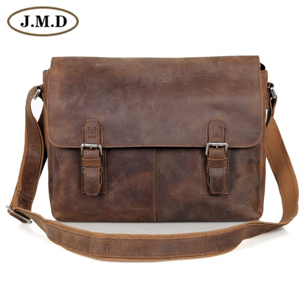 JMD Vintage Genuine Crazy Horse Leather Men's Messenger Bag Man Shoulder Sling Bag 15 inch laptops Bag 6002LR-2