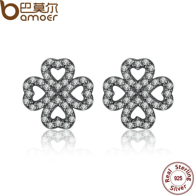 BAMOER Funkelnden 925 Sterling Silber Blätter von Liebe, Klar CZ Stud Ohrringe für Frauen Hohe Qualität Edlen Schmuck PAS435