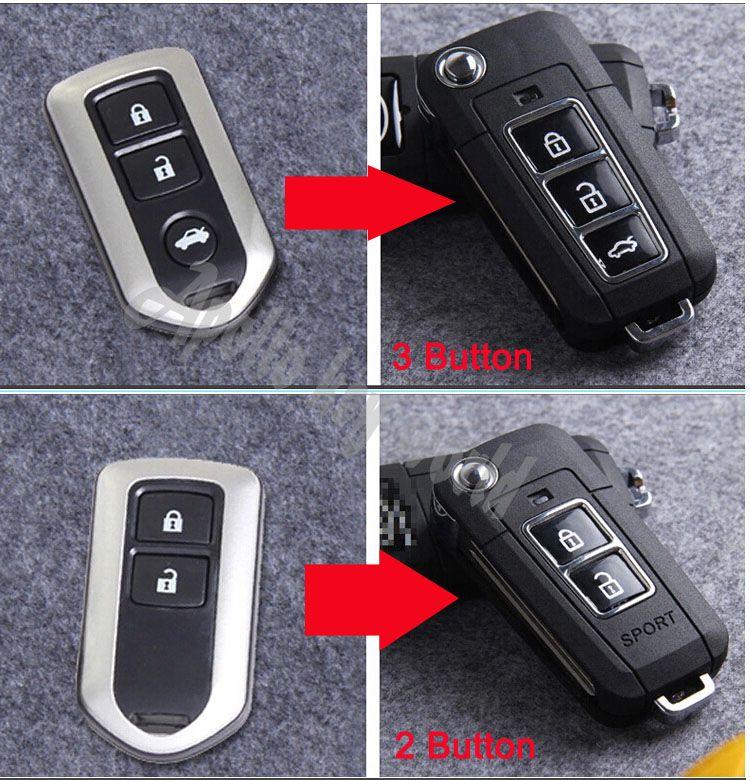 2014 tout neuf! 3 boutons/2 boutons modifiés Flip pliant télécommande porte-clés coquille pour Toyota Camry Prado Highlander Yaris Vios