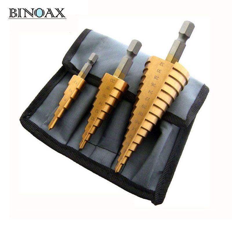 Binoax 3 pcs Métrique Spirale Flûte Étape HSS Acier 4241 Cône Titane Enduit Forets Ensemble D'outils Trou Cutter 4 -12/20/32mm + Pochette