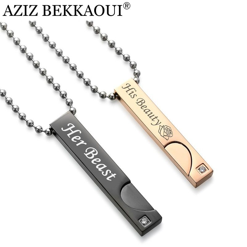 AZIZ BEKKAOUI Angel & Demon Couple Necklaces Beauty & Beast Pendant Necklace for Lover King & Queen Christmas Gift Drop Shipping