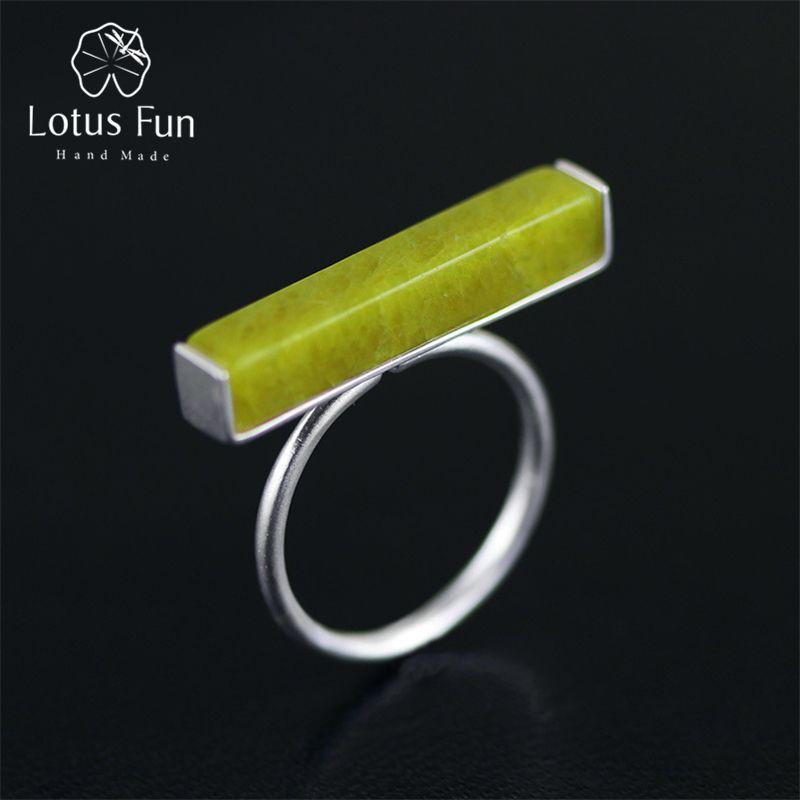 Lotus Fun real 925 Plata de ley natural piedra olivino hecho a mano Joyería fina anillo ajustable minimalismo Anillos para las mujeres bijoux
