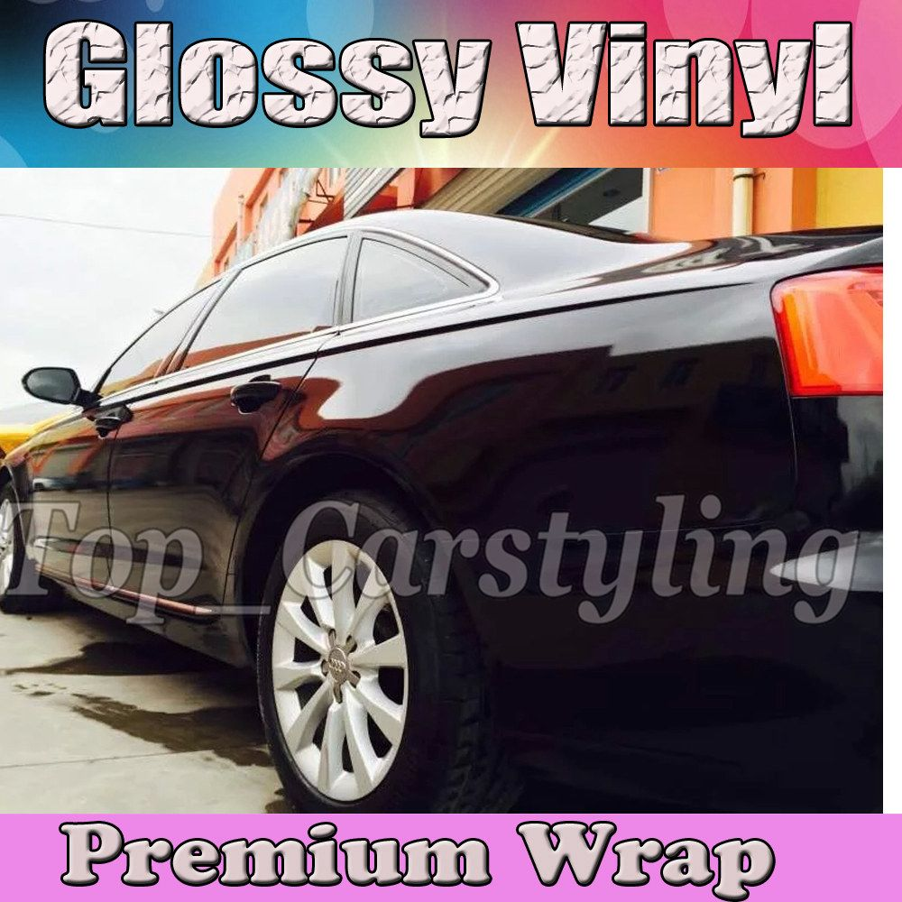 Gloss BLACK Vinyl Car Wrap Film With Air release PROTWRAPS Shiny piano Glossy Vehicle Wrapping Covering 1.52x30m/Roll (5ftx98ft)