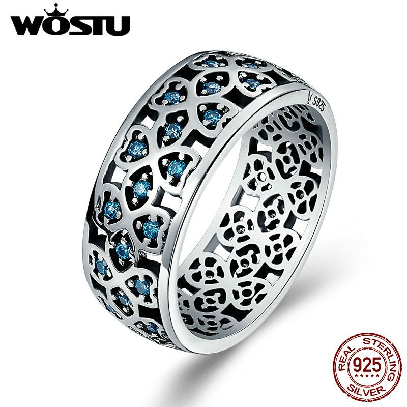 WOSTU Authentic 925 Sterling Silver Openwork Lucky Clover Blue Zircon Stone Wide Finger Ring For Women S925 Jewelry CQR064