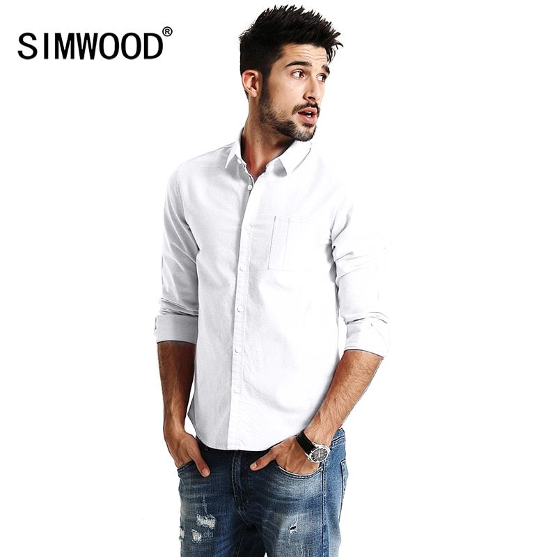SIMWOOD 2018 New Spring Casual Shirts Men Long Sleeve 100% Pure Cotton Slim Fit Plus Size High Quality Oxford Twill Shirt CS1597