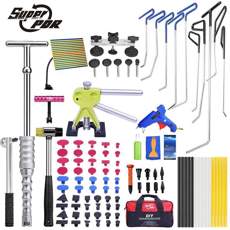 PDR Hook Tools Push Rods Dent Removal Tools Paintless Dent Repair Tools Car Body Repair Kit dent lifter puller glue gun hammer