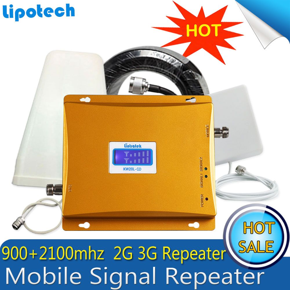 Lintratek GSM 900 2100 Cellular Signal Booster GSM 900mhz 3G UMTS 2100mhz Signal Amplifier 3G Dual Band Extender Repeater Set