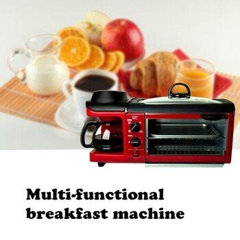 DMWD Multifuntion 3 in 1 Breakfast Maker Bread Toaster Meat Baking Grill/Fried Egg/ Coffee Roaster Electric Oven For Household