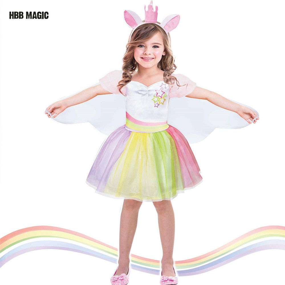 Creativo de Vestirse Como Danza Tutu Dress Kids Cosplay Trajes de Alas De Hadas Mágico Unicornio Cute Girl Rainbow Party Princess Dress