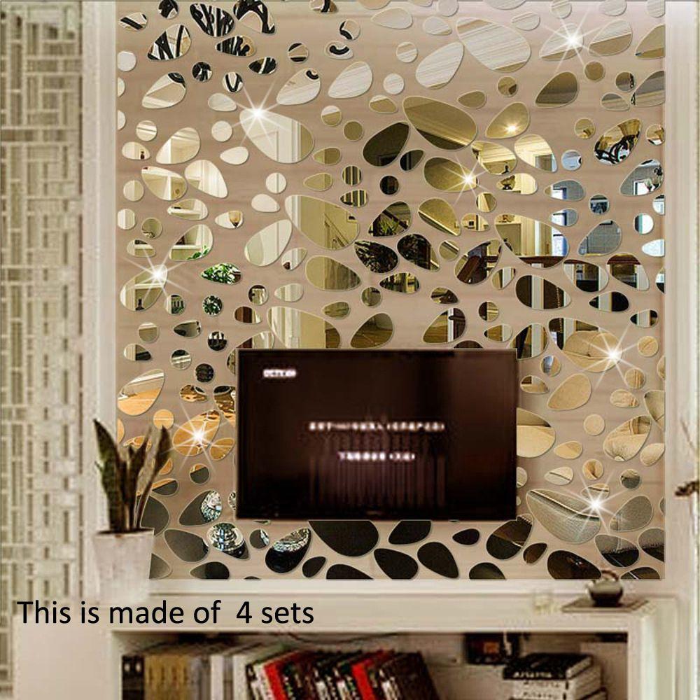 Pavé Fond Miroir Mural Stickers Muraux BRICOLAGE Stickers Muraux Accueil Décor Autocollant Mural Fleur Acrylique Autocollant