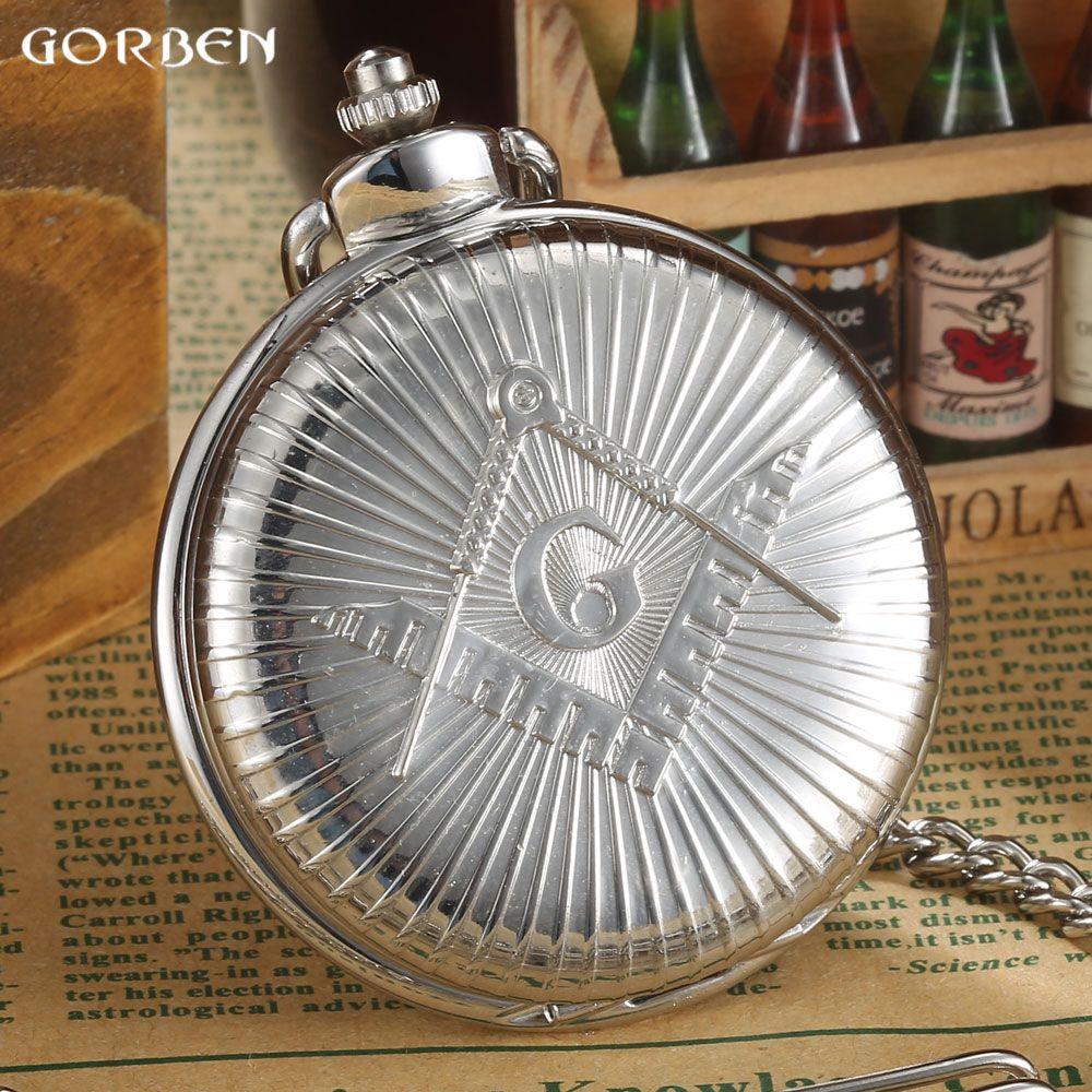 De Plata de lujo de Envío-Masonería Masónico del Freemason Mason Diseño Steampunk 2016 GORBEN Caliente de Cuarzo Reloj de Bolsillo Regalo