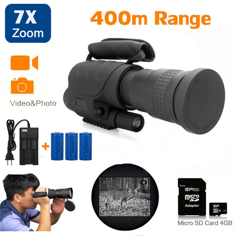 Rongland NV-760D+ Infrared Hunting Night Vision IR Monocular Telescopes 7x60+3 Batteries+Charger+4GB SD Card Video Record Device
