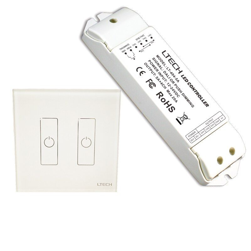 LTECH EDA2 Dali Led dimmer 2 Channel Dali Led Controller On/Off Switch Wall Touch Panel Dali Dimmer with Power driver LT-404-5A