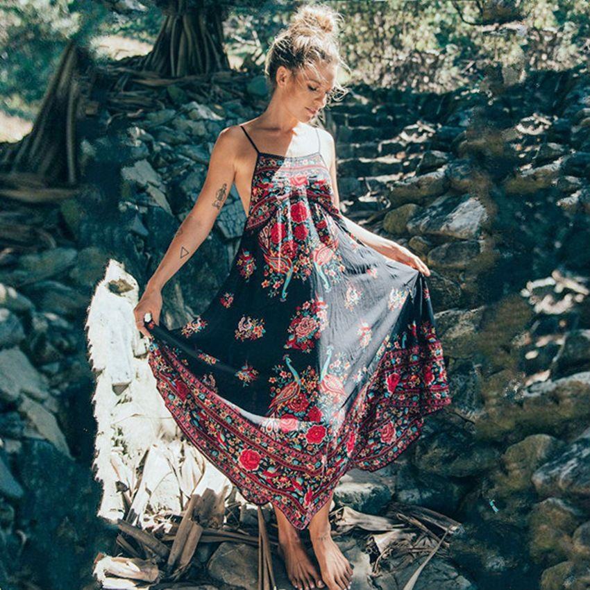 Bellflowe été Boho Robe Etehnic Sexy rétro imprimé Vintage Robe sans manches plage Robe bohême Hippie Robe Robe Vstido Mujer
