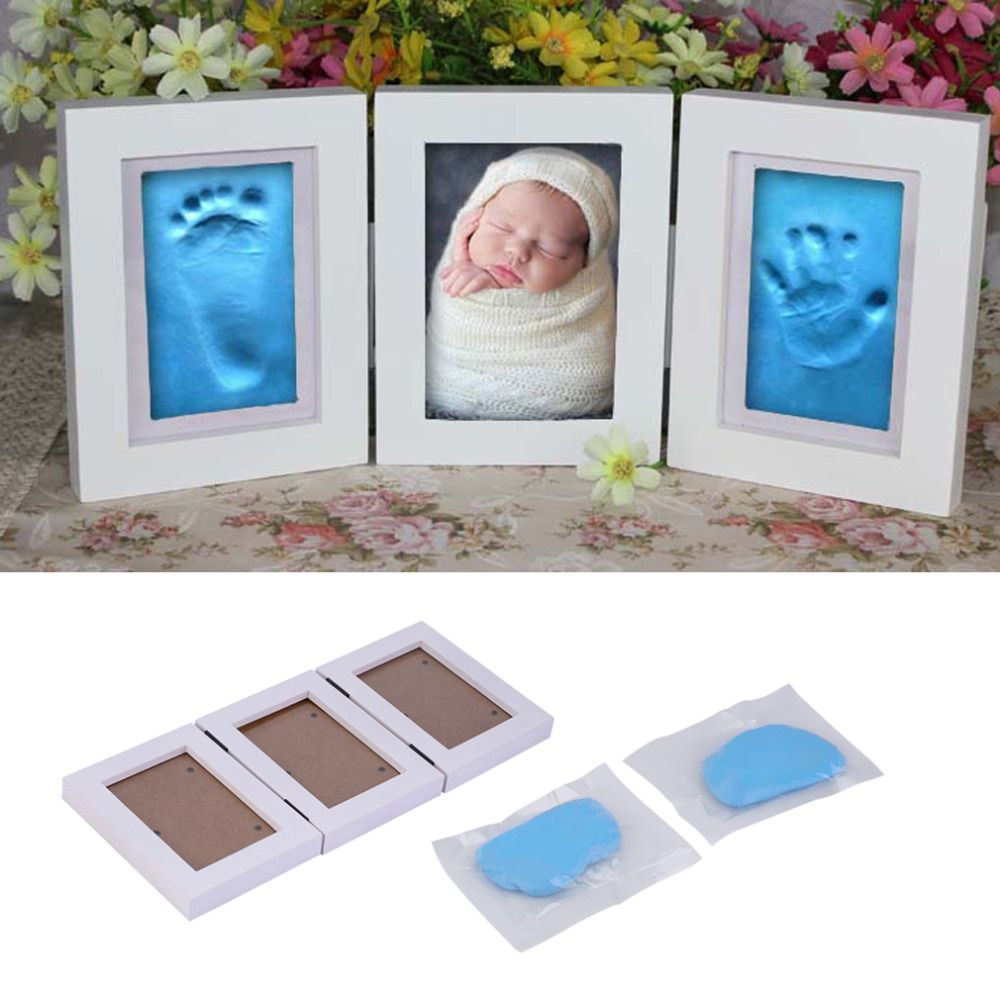 2018 Hot Sale Cute Baby Photo frame DIY handprint or footprint <font><b>Soft</b></font> Clay Safe Inkpad non toxic ceremony gift for baby