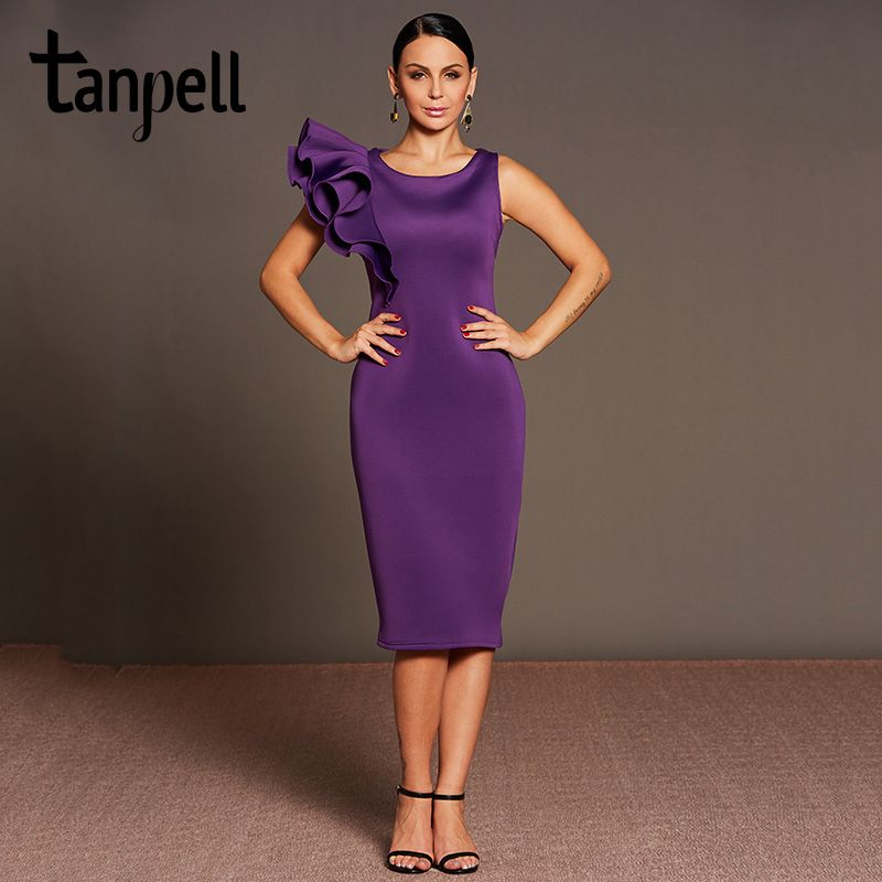 Tanpell ruffle sleeves cocktail dress purple o neck tea length bodycon gown cheap lady plain party formal short cocktail dresses