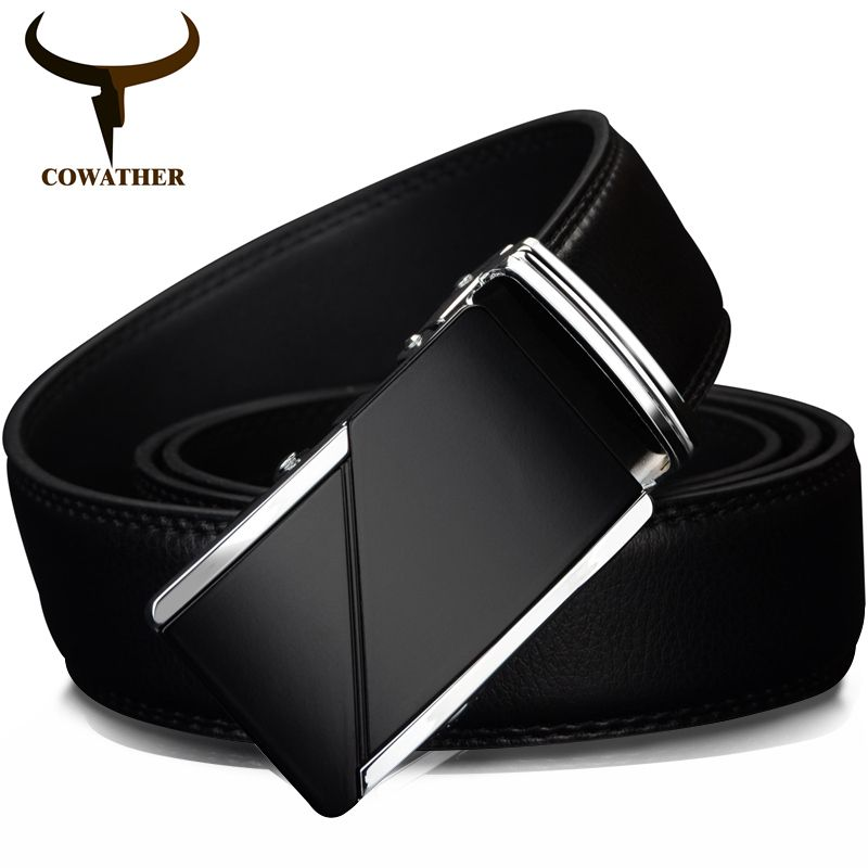 COWATHER COW <font><b>genuine</b></font> Leather Belts for Men High Quality Male Brand Automatic Ratchet Buckle belt 1.25 35mm Wide 110-130cm long