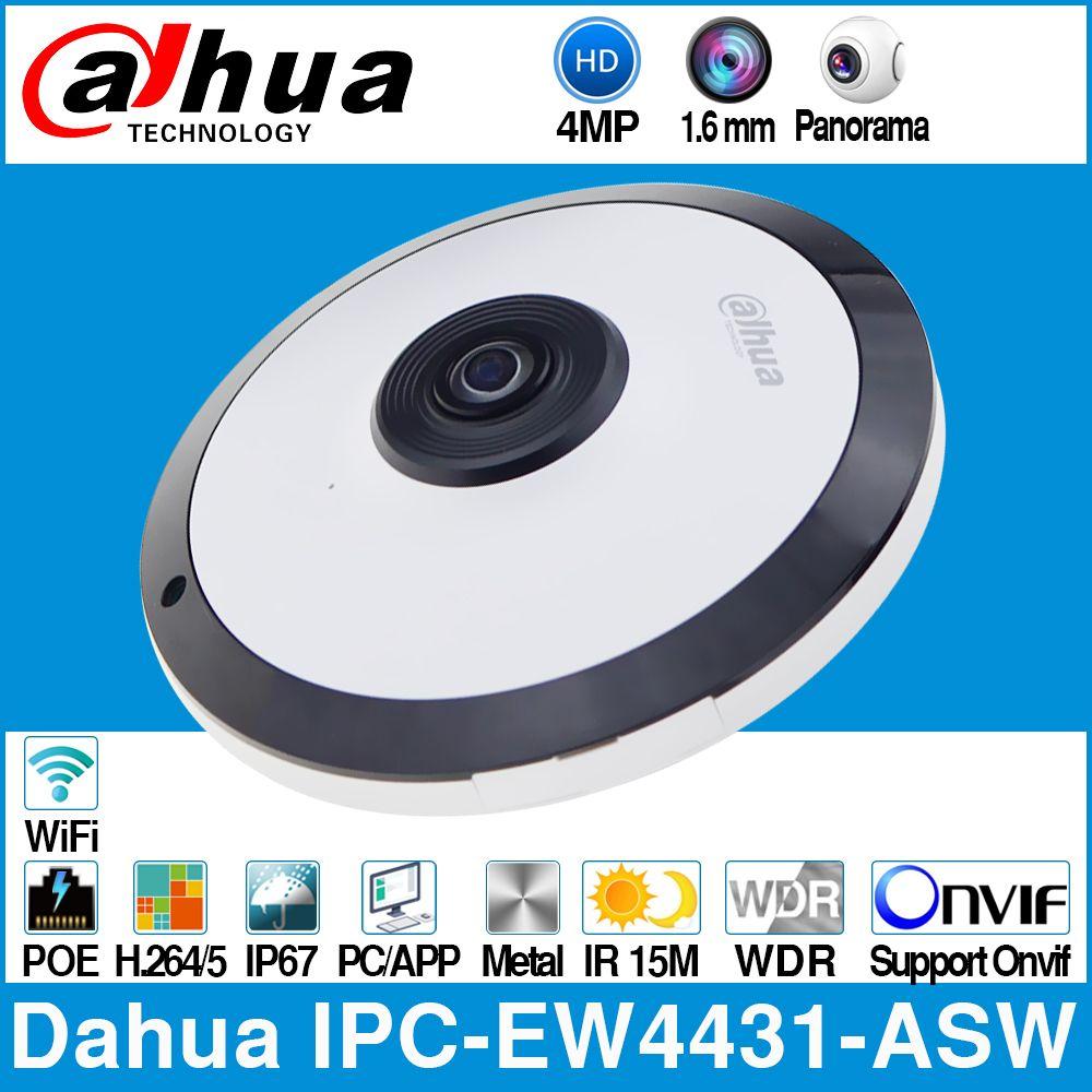 Dahua IPC-EW4431-ASW 4MP Panorama 180 degrés POE WIFI Fisheye caméra IP intégré micro fente pour carte SD Interface d'entrée/sortie d'alarme Audio