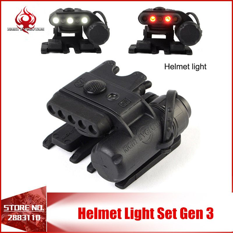 Night-Evolution Helmet Light Set Gen 3 Light Helmet White&Red infrared LED Flashlight Clamp Hunting Military Tactical NE05003