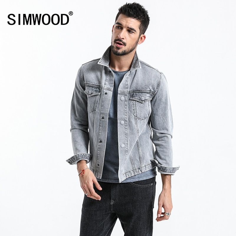 Simwood 2018 New Fashion Jackets Men Clothing Denim Jacket Man Outdoors Casual Jeans Jackets Coats Plus Size Outerwear 180093