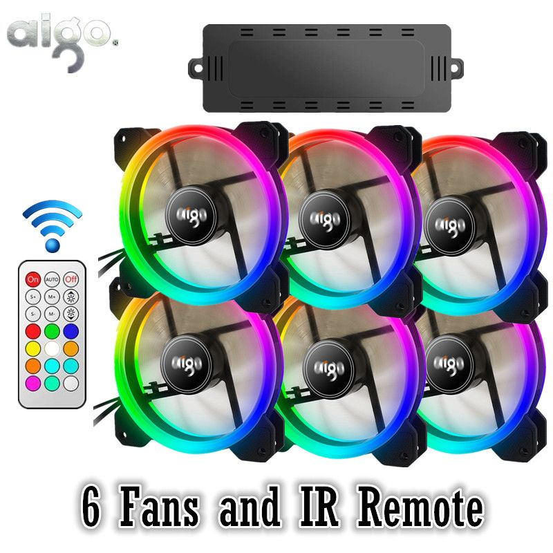 AIGO DR12 RGB 6pcs Computer Case PC Cooling Fan RGB Adjust LED 120mm Quiet + IR Remote New computer Cooler Cooling RGB Case Fan