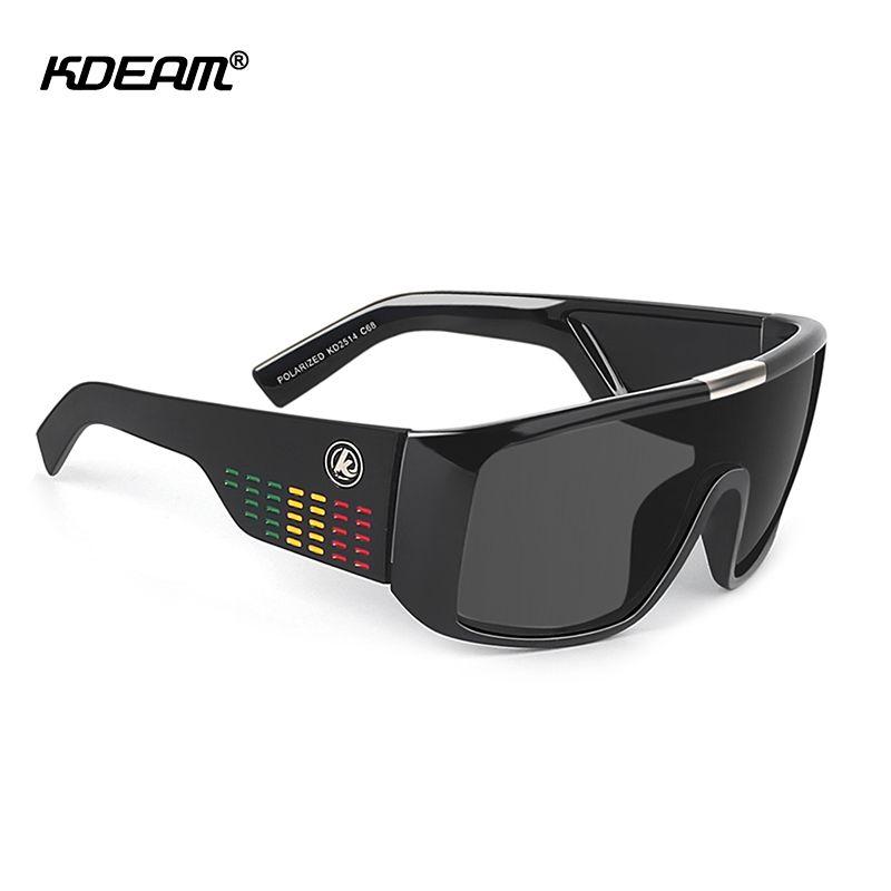 KDEAM Bold Shield hommes lunettes de soleil polarisées grande taille une pièce cadre lunettes de soleil avec étui de protection KD2514