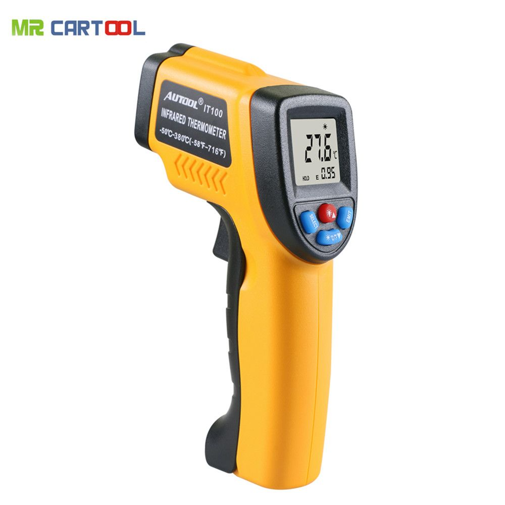 Infrared thermometer non-contact LCD Display Infrared Digital C/F Selection -50~380 degree(-58~716F) AUTOOL IT100 Same As GM320
