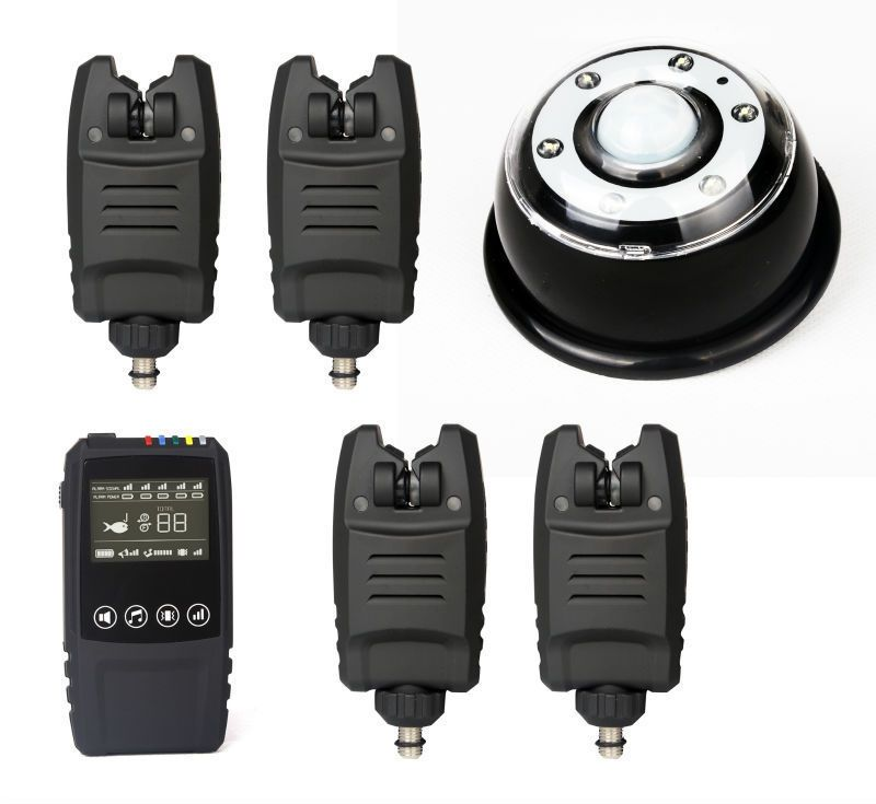Free Shipping Waterproof Wireless alarm set 2/3/4 pcs Bite Alarms +1*touch shock Receiver+lamp light receiver for Carp Fishing