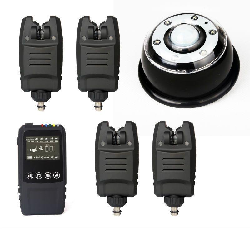 Freies Verschiffen Wasserdichte Drahtlose alarm set 2/3/4 stücke Bissanzeiger + 1 * touch schock Empfänger + lampe licht empfänger für Karpfenangeln