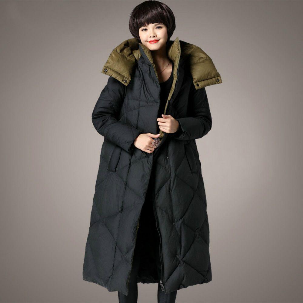 M ~ 5XL frauen Ente Unten Jacken Plus Größe Plaid 2018 Winter Designer Lange Dicke Weibliche Mäntel Mit Kapuze Parka hohe Qualität Kleidung