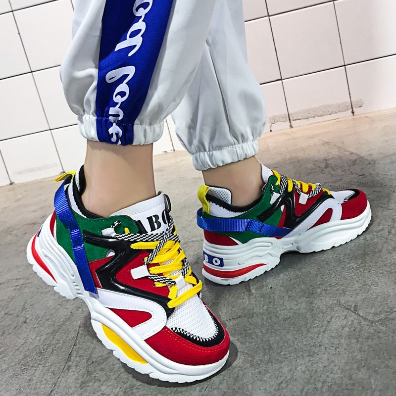 Breathable sporty running shoes for women's&men's INS Ulzza winter Sneakers Thick sole chunky platform tennis walking shoes sock