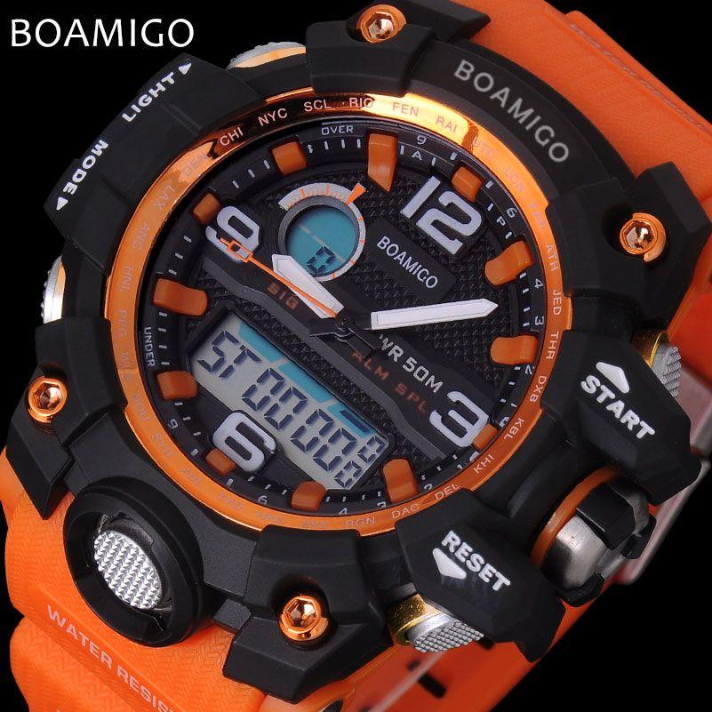 men sport watches BOAMIGO brand LED digital watches analog quartz watch rubber strap 50M waterproof swimming wristwatches F5100