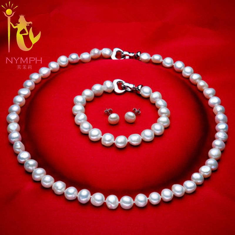 [NYMPH]  Genuine Baroque Pearl jewery sets  natural freshwater pearl necklace bracelet earrings 8-9mm fine jewelry [t1010]
