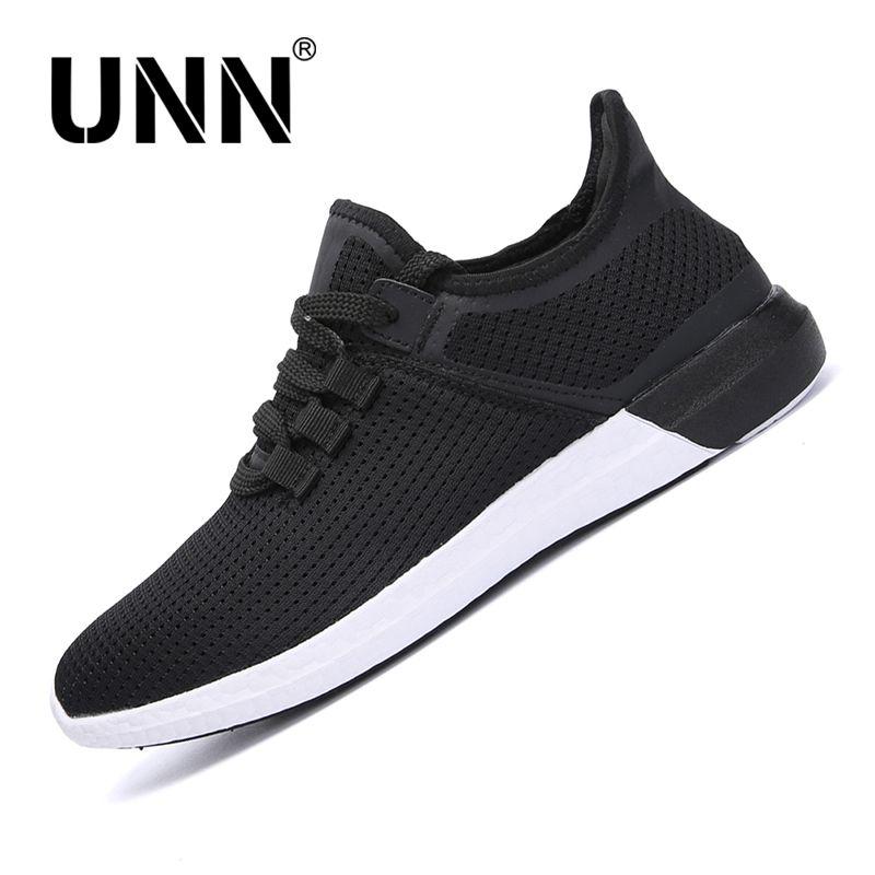 UNN hommes Mesh Super chaussures de course à lacets été respirant semelle souple baskets légères unisexe Sport chaussure noir taille EU 35-44